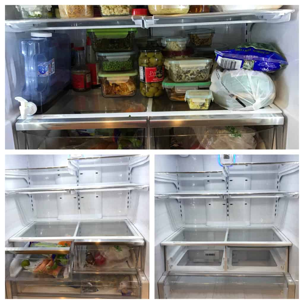 Three panel pic of cleaning out a fridge