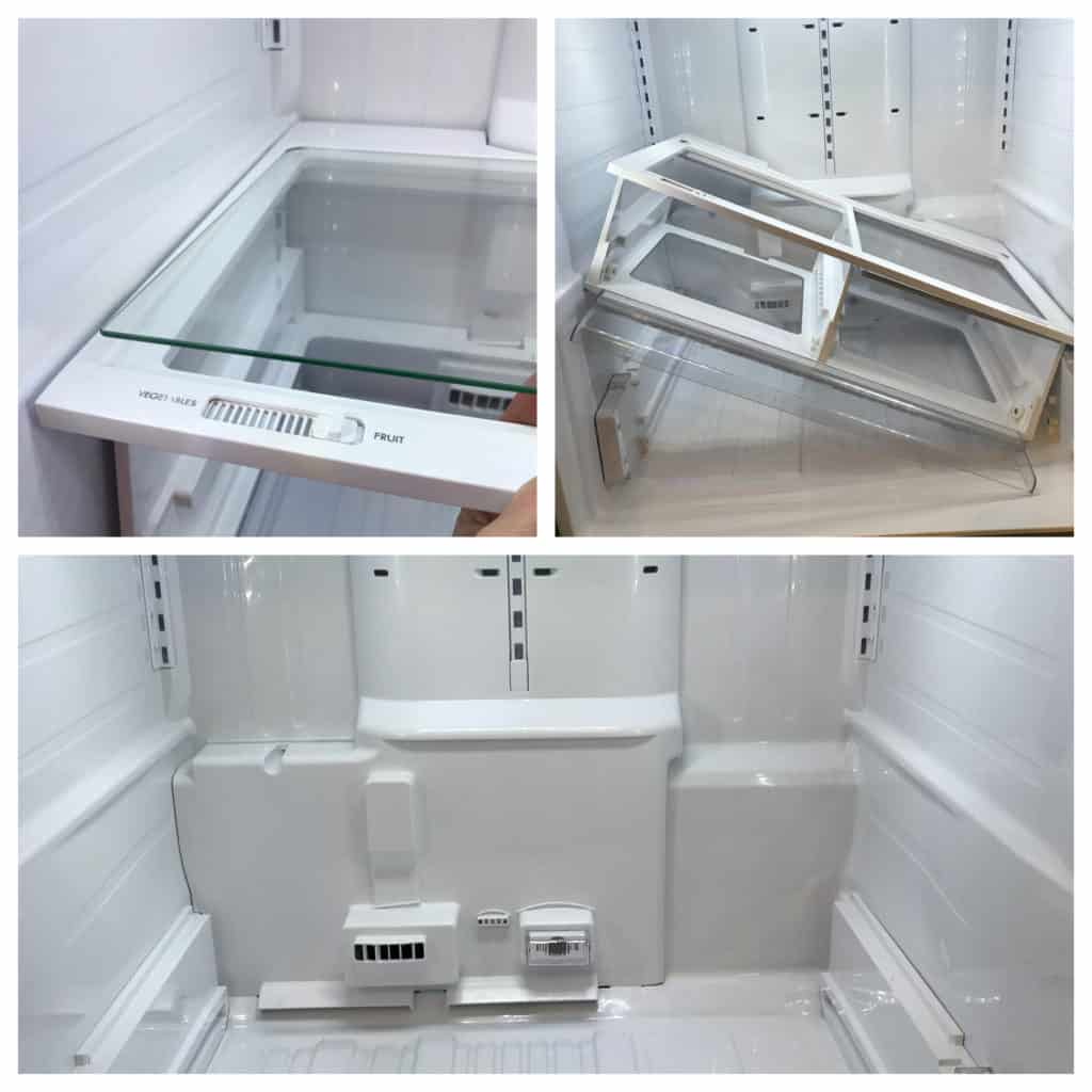 Inside of Kenmore French Door Fridge shelf removal