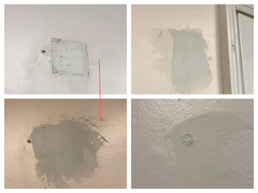 Four panel pic of patching drywall