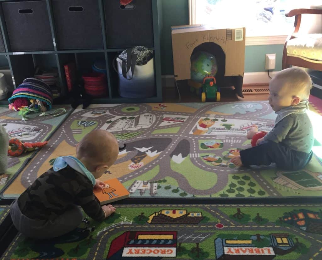 Twins in a playroom