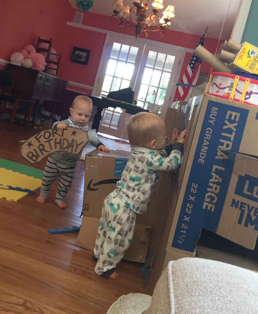 Two boys and box fort