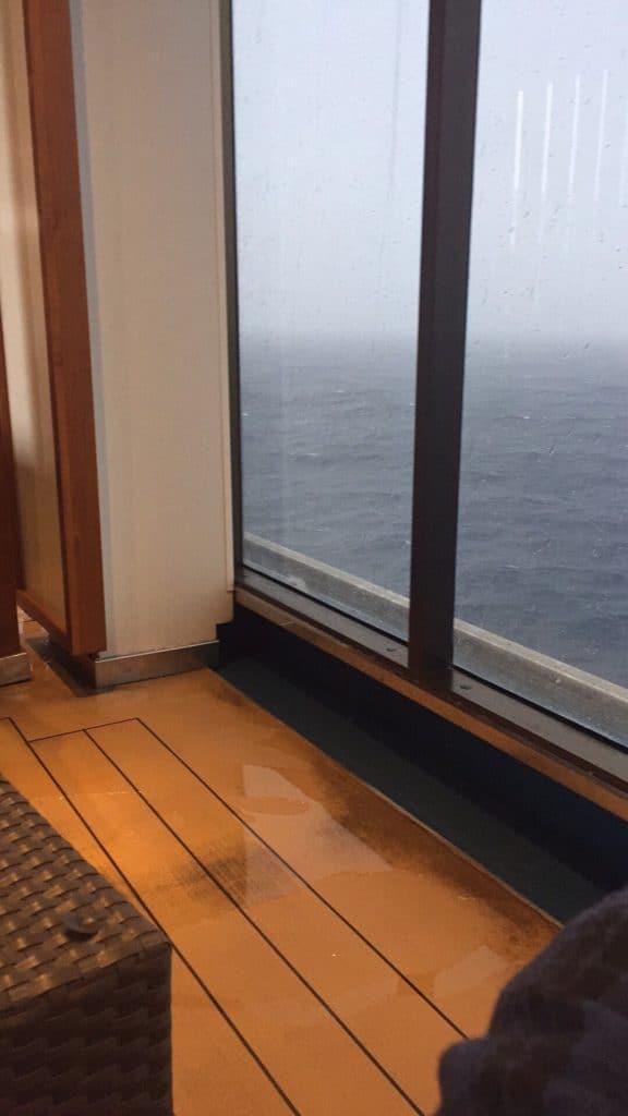 Window out onto a rain sea