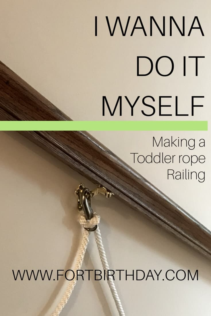 Pinterest pin for Toddler Rope Railing