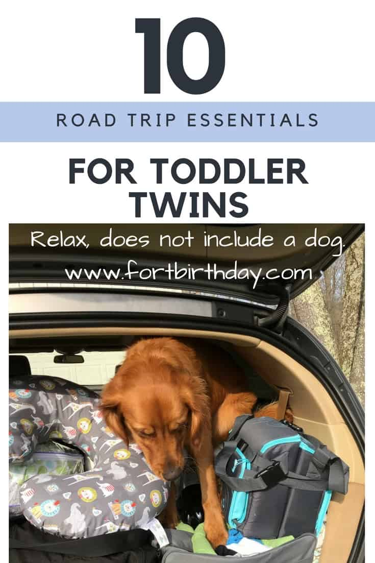 Pinterest Pin for road trip gear for toddler twins
