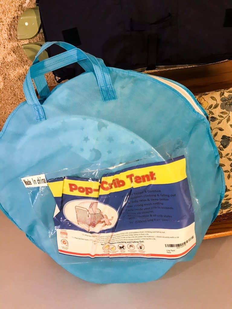 Blue bag of crib tent gear