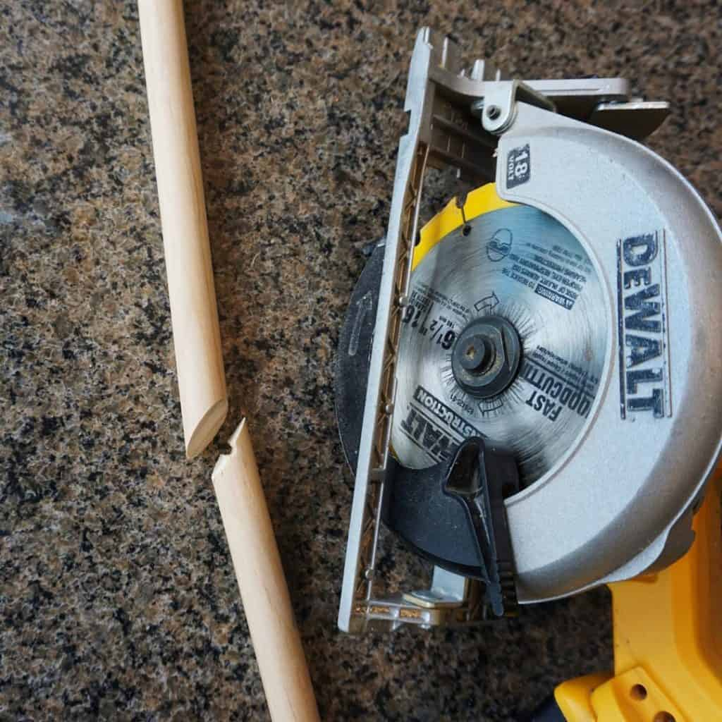 Dewalt circular saw Wooden parts to DIY a toy weed wacker trimmer recycle old things into new