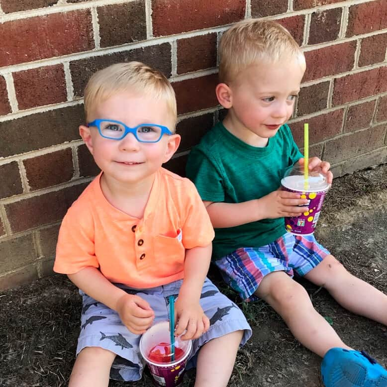 Fraternal Twin Brothers in coordinating outfits Dilli Dalli Eyewear Slurpee 7 eleven