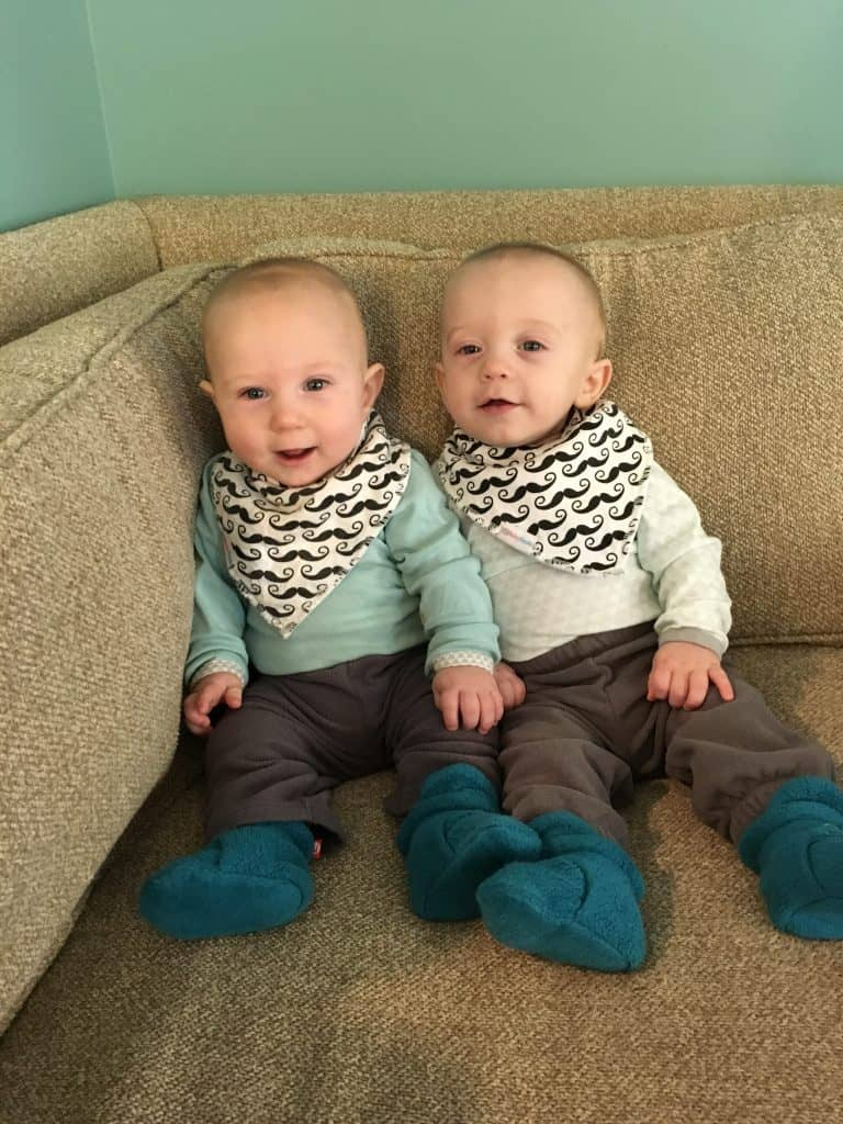 Fraternal Twin Brothers in coordinating outfits