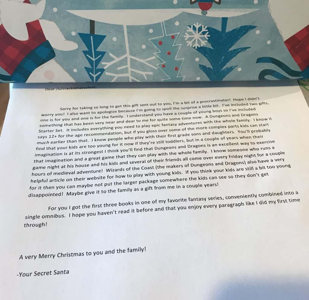 Letter from my 2017 Reddit Secret Santa