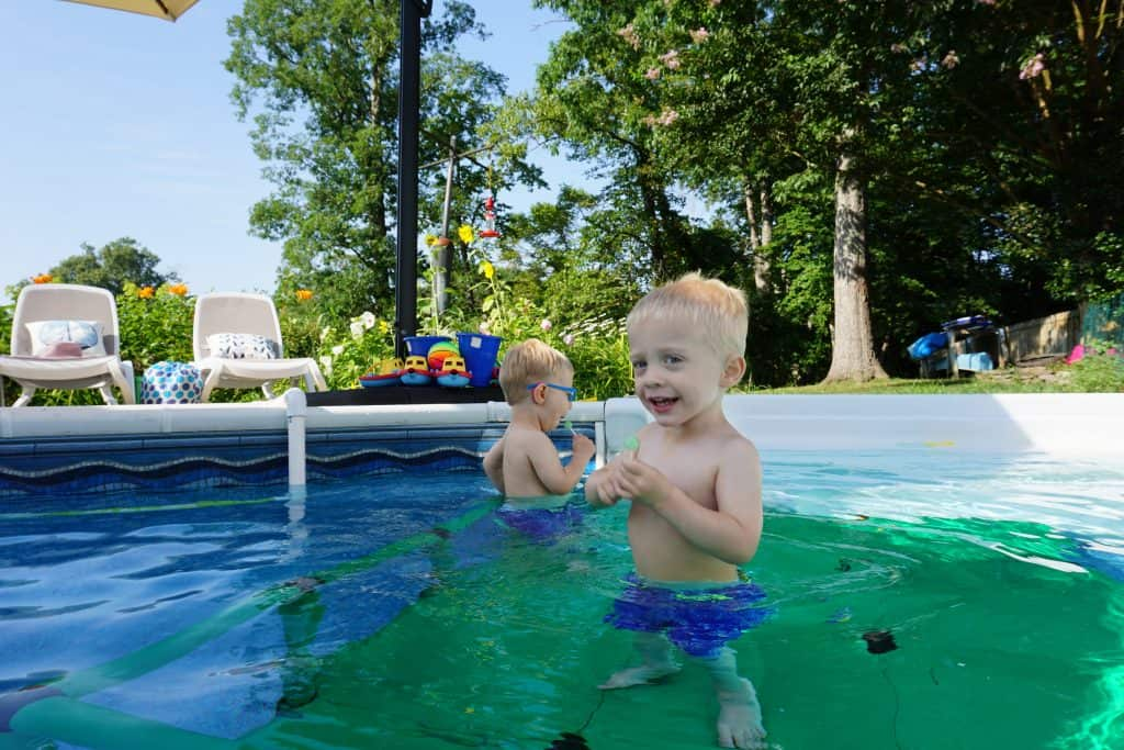 Quadro swim platform makes our pool more fun for our toddler twins.