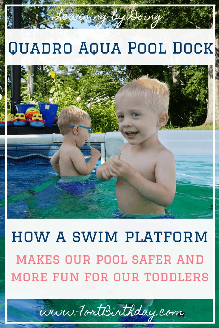 Quadro Aqua Pool Dock swim platform with toddler twins
